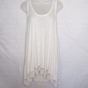 Chloe K Long White Tank Lace Trim